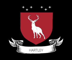 Stag on a Crimson Red Shield titled Hartley