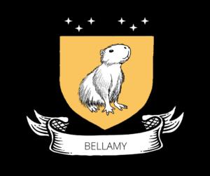 Capybara on a Golden Shield titled Bellamy