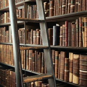 Books in an old library