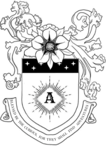 """Shield with a 5 Petal FLower on top and 6 white stars with the letter 'A' in its centre. Beneath the shield reads a scroll, 'Blessed be the curious for they shall find adventures"""""""